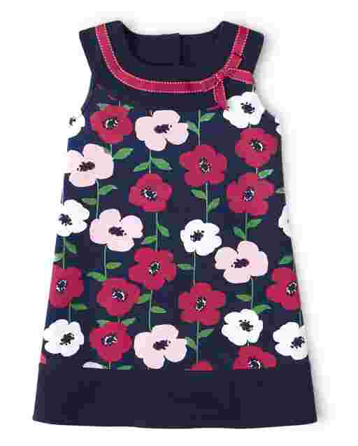 Girls Short Sleeve Floral Print Ponte Knit Dress - Preppy Puppy