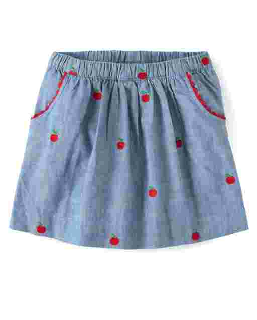 Girls Embroidered Apple Print Chambray Skort - Candy Apple