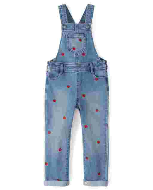 Girls Sleeveless Embroidered Apple Print Overalls - Candy Apple