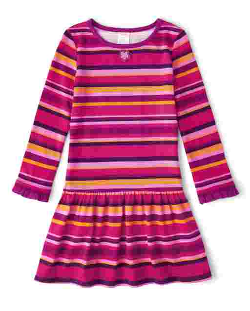 Girls Long Sleeve Applique Flowers Striped Knit Dress - Berry Cute
