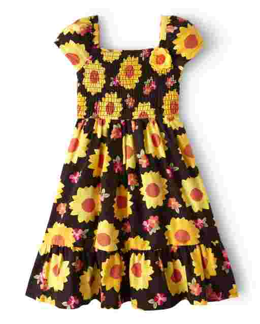 Girls Short Sleeve Sunflower Print Flannel Smocked Dress - Harvest