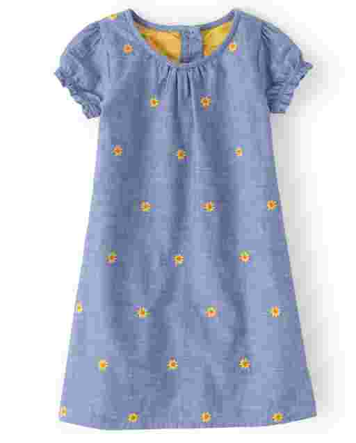 Girls Short Sleeve Embroidered Sunflower Print Chambray Shift Dress - Harvest