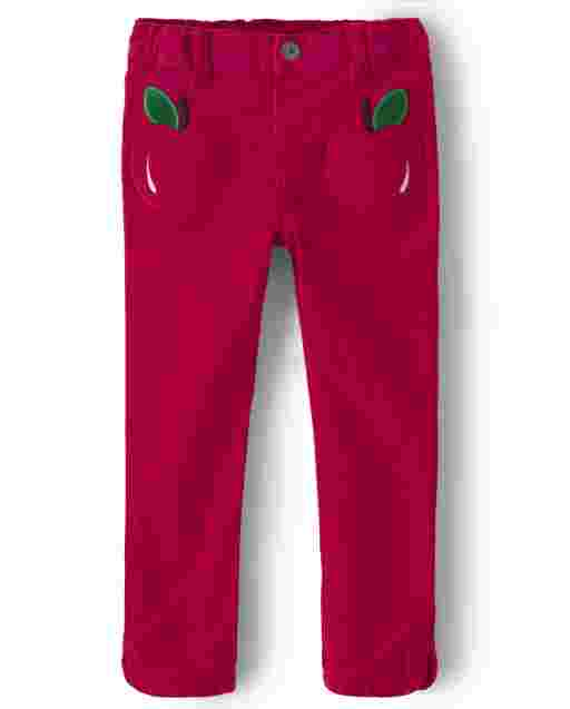 Girls Embroidered Apple Corduroy Pants - Candy Apple