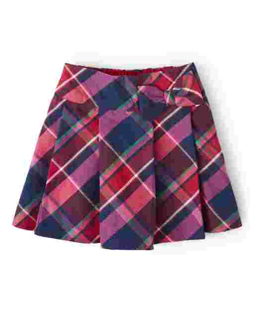 Girls Plaid Twill Skort - Candy Apple