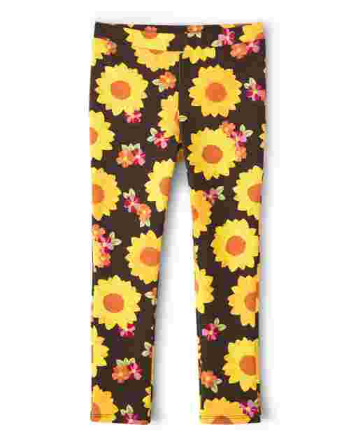 Girls Sunflower Print Ponte Knit Jeggings - Harvest