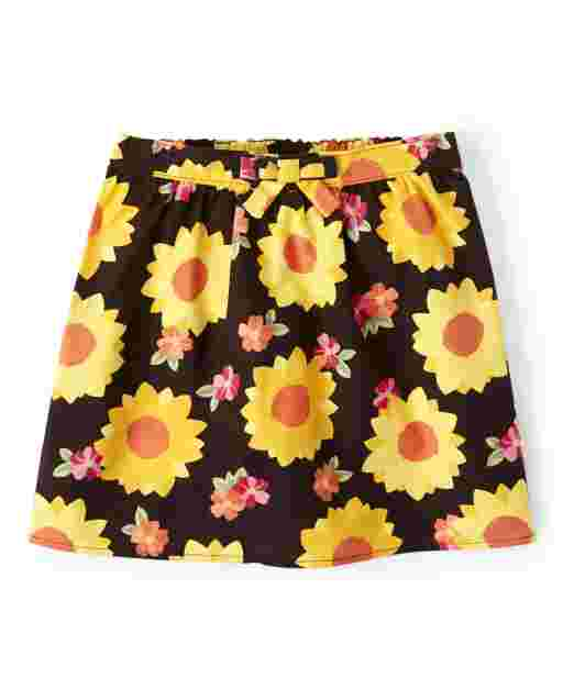 Girls Sunflower Print Flannel Skort - Harvest