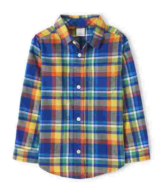 Boys Long Sleeve Plaid Twill Button Up Shirt - Demolition Dude