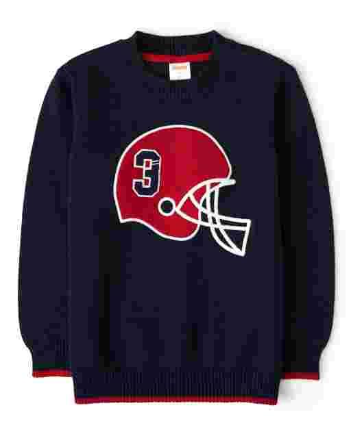 Boys Long Sleeve Intarsia Football Helmet Sweater - Preppy Puppy