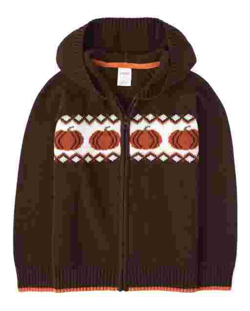 Boys Long Sleeve Pumpkin Zip Up Hooded Sweater - Harvest