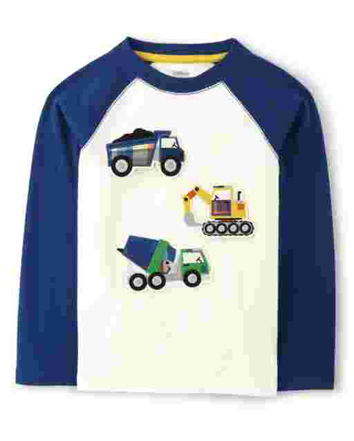 Boys Long Raglan Sleeve Peek-A-Boo Flap Art Trucks Top - Demolition Dude
