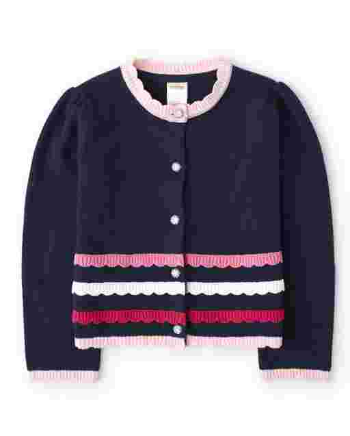 Girls Long Sleeve Scalloped Cardigan - Preppy Puppy