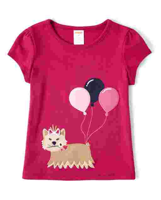 Girls Short Sleeve Embroidered Applique Dog Balloon Top - Preppy Puppy