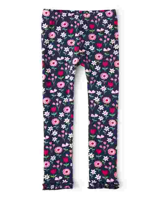 Girls Floral Print Knit Ruffle Leggings - Preppy Puppy