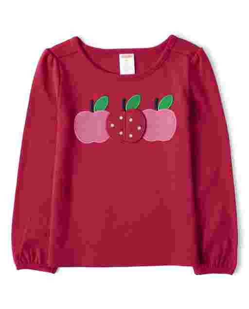 Girls Long Sleeve Peek-A-Boo Flap Art Apple Top - Candy Apple