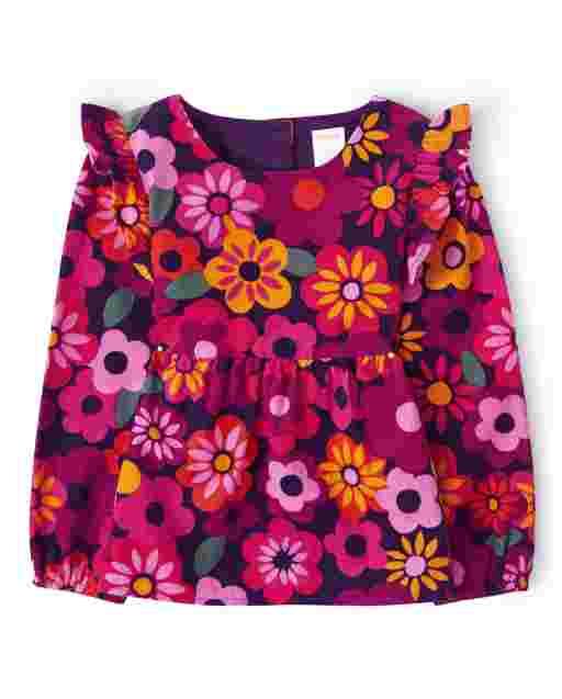 Girls Long Sleeve Floral Print Corduroy Top - Berry Cute