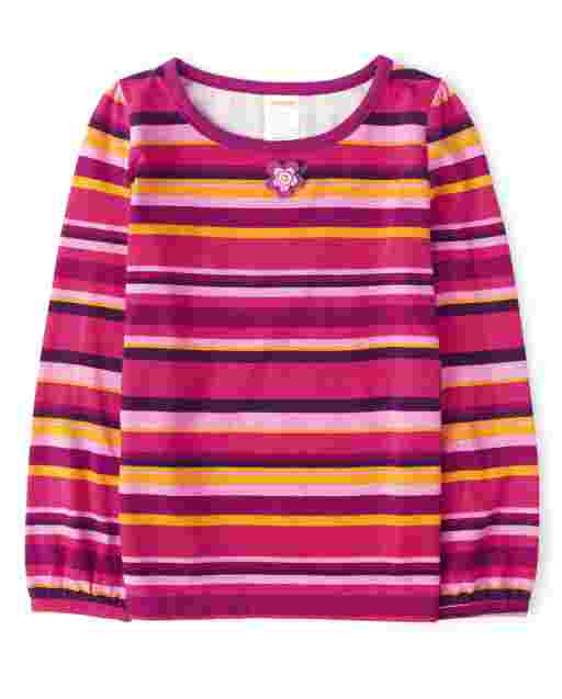 Girls Long Sleeve Applique Flowers Striped Top - Berry Cute