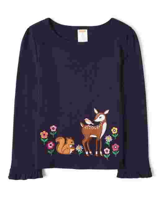 Girls Long Sleeve Embroidered Deer Top - Berry Cute