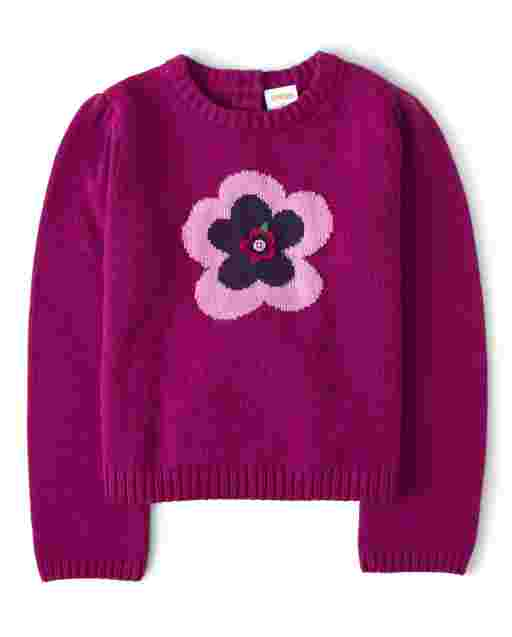 Girls Long Sleeve Embroidered Flower Sweater - Berry Cute
