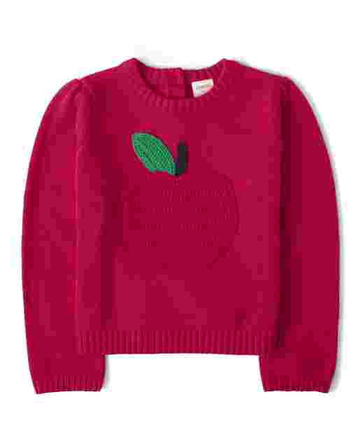Girls Long Sleeve Crochet Apple Sweater - Candy Apple
