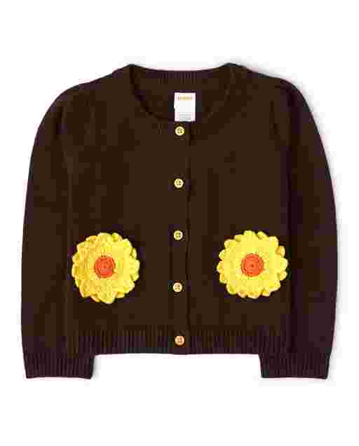 Girls Long Sleeve Applique Sunflower Cardigan - Harvest