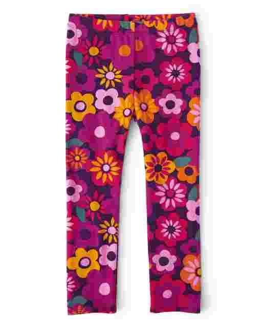Girls Floral Knit Leggings - Berry Cute