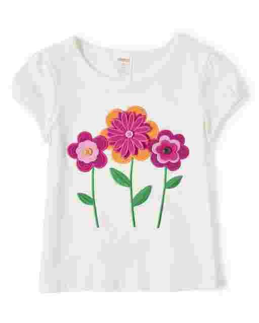 Girls Short Sleeve Applique Flowers Top - Berry Cute