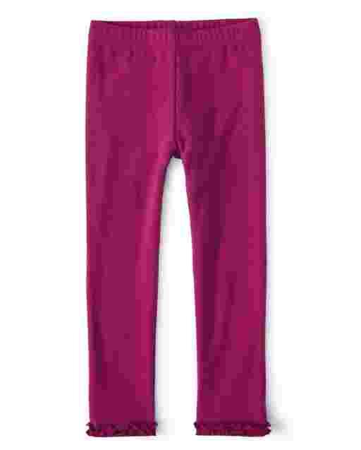 Girls Knit Ruffle Leggings - Berry Cute