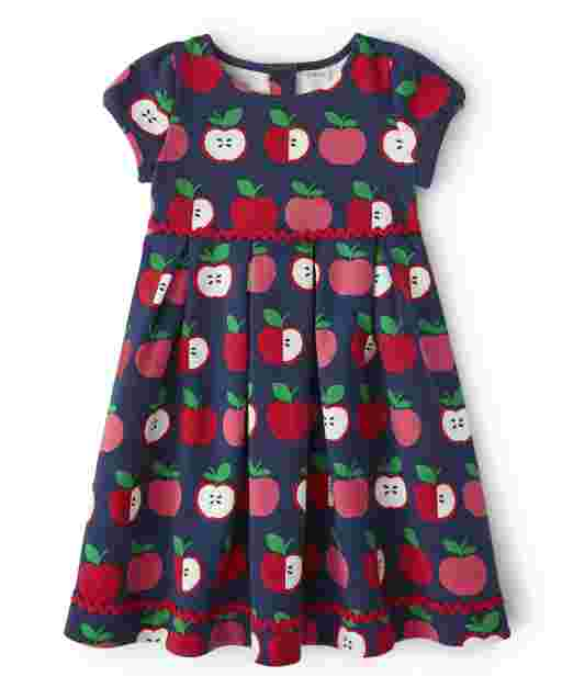 Girls Short Sleeve Apple Print Ponte Knit Dress - Candy Apple