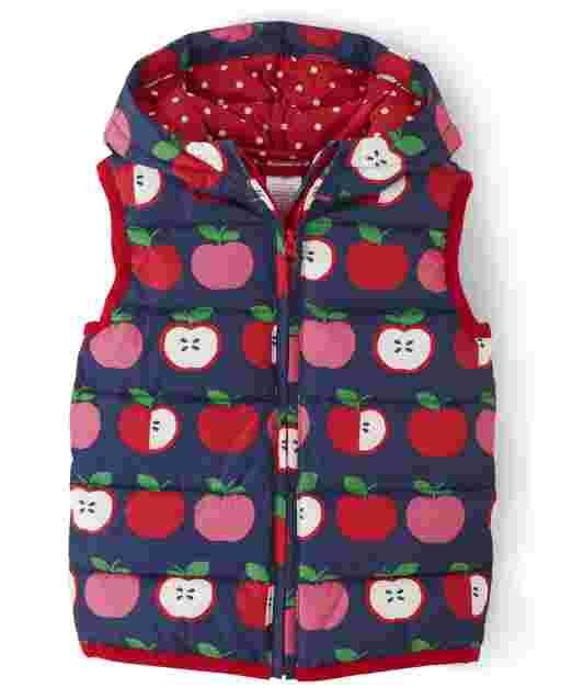 Girls Sleeveless Apple Print Vest - Candy Apple