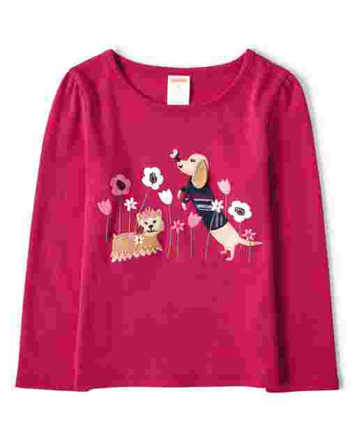 Girls Long Sleeve Embroidered Dog Top - Preppy Puppy