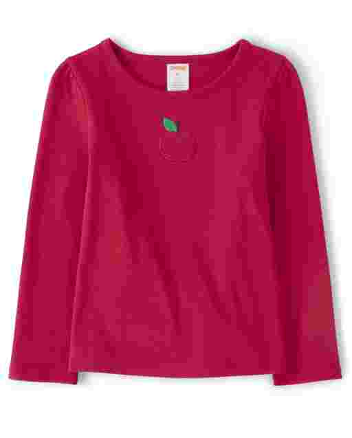 Girls Long Sleeve Embroidered Apple Top - Candy Apple