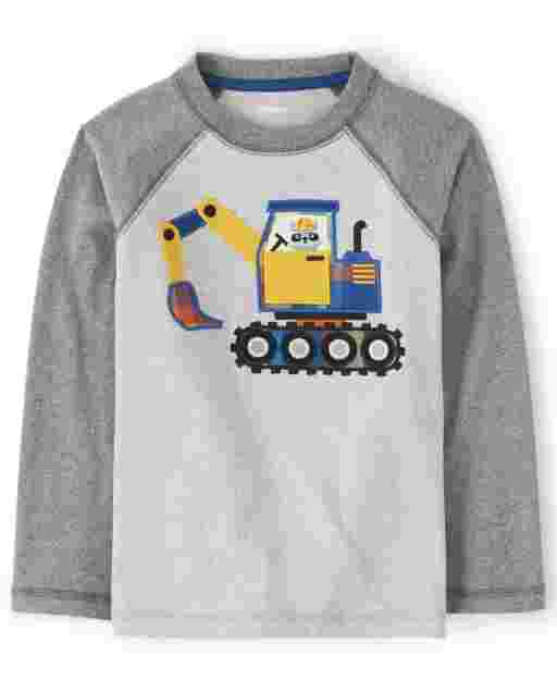 Boys Long Raglan Sleeve Embroidered Construction Truck Top - Demolition Dude