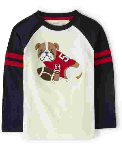 Boys Long Raglan Sleeve Bulldog Top - Preppy Puppy
