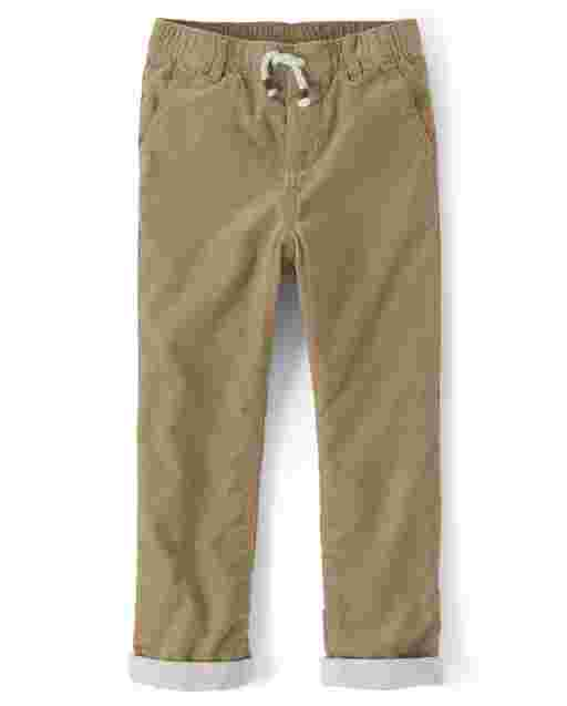 Boys Corduroy Pull On Roll Up Pants