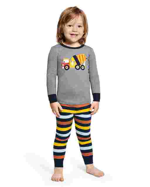 Boys Long Sleeve Demolition Dude Snug Fit Cotton 2-Piece Pajamas - Gymmies