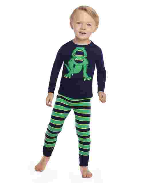Boys Long Sleeve Dino Snug Fit Cotton 2-Piece Pajamas - Gymmies