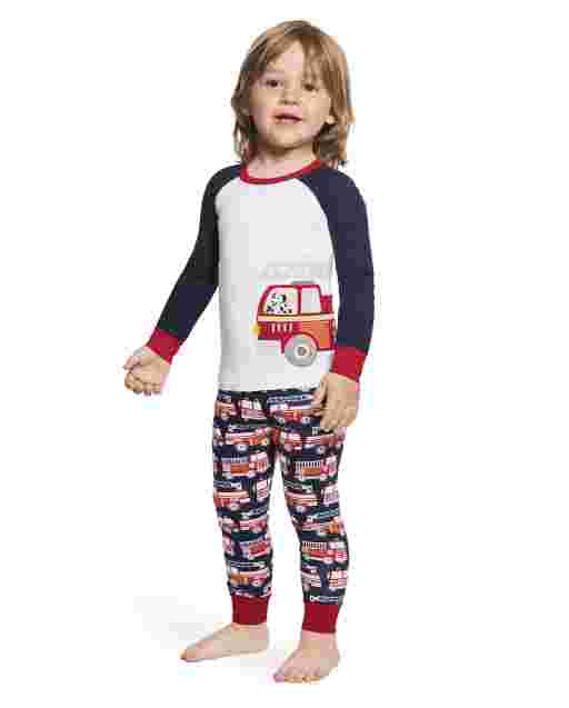 Boys Long Sleeve Firetruck Snug Fit Cotton 2-Piece Pajamas - Gymmies