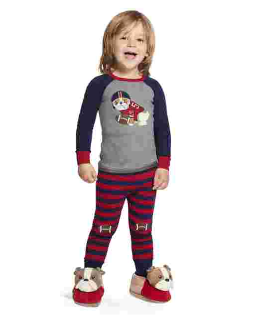 Boys Long Raglan Sleeve Preppy Puppy Snug Fit Cotton 2-Piece Pajamas - Gymmies
