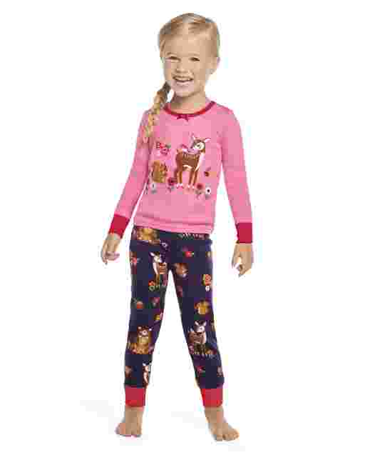 Girls Long Sleeve Berry Cute Snug Fit Cotton 2-Piece Pajamas - Gymmies