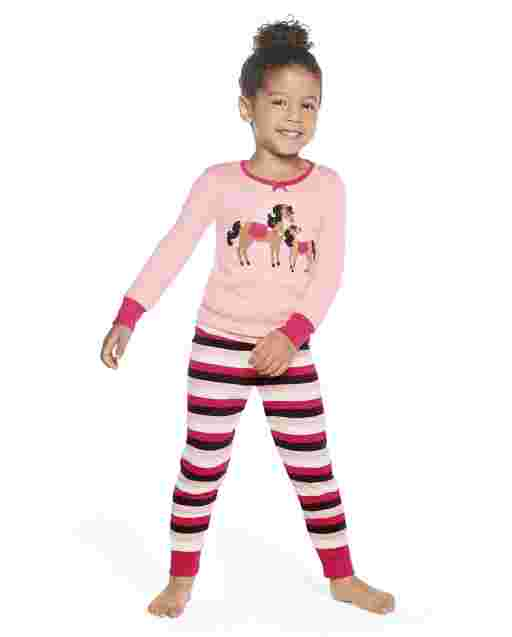 Girls Long Sleeve Pony Club Snug Fit Cotton 2-Piece Pajamas - Gymmies