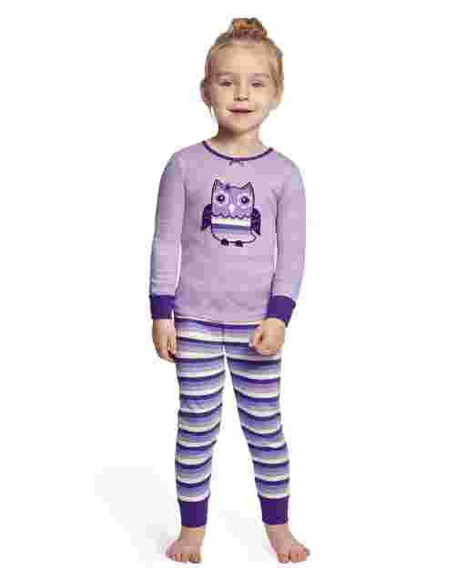 Girls Long Sleeve Whooo's Cute Snug Fit Cotton 2-Piece Pajamas - Gymmies