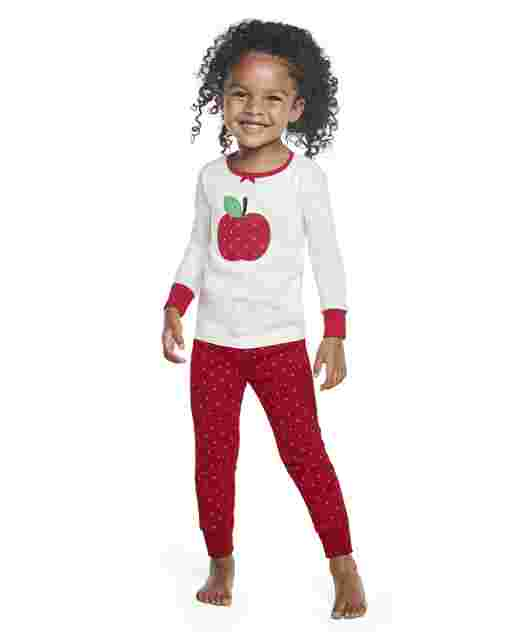 Girls Long Sleeve Candy Apple Snug Fit Cotton 2-Piece Pajamas - Gymmies