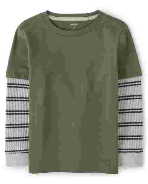 Boys Long Striped Thermal Sleeve 2 In 1 Top - Every Day Play