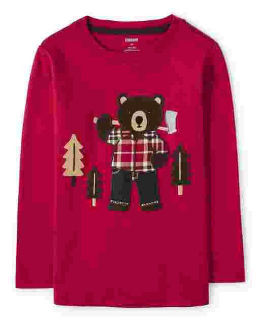 Boys Long Thermal Sleeves Embroidered Bear 2 In 1 Top - Moose Mountain