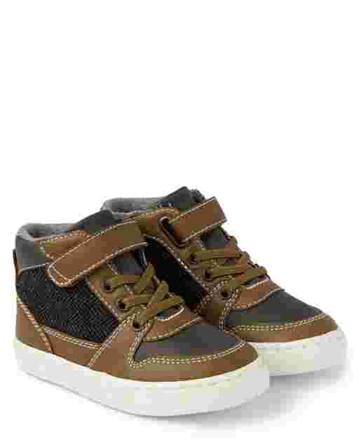 Boys Faux Leather Hi Top Sneakers - Aspen Lodge