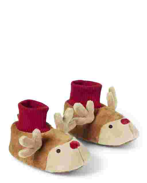 Unisex Girls And Boys Reindeer Slippers - Gymmies