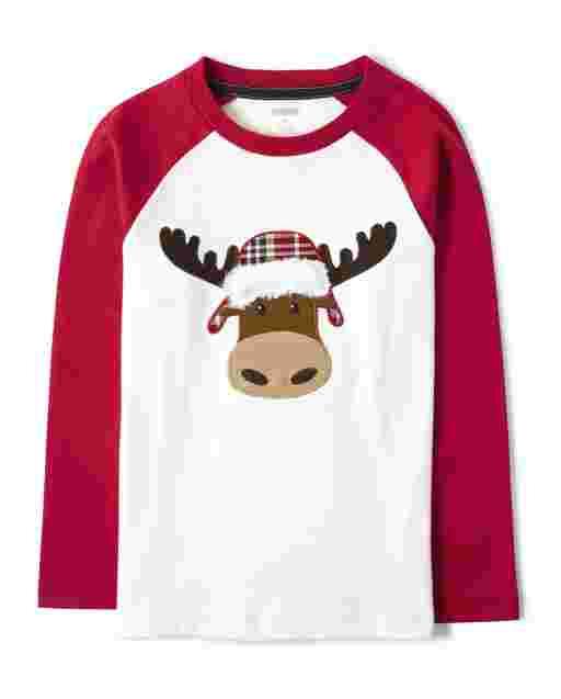 Boys Long Sleeve Embroidered Moose Top - Moose Mountain