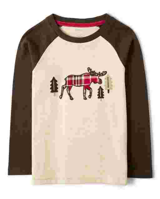 Boys Long Sleeve Embroidered Plaid Moose Top - Moose Mountain