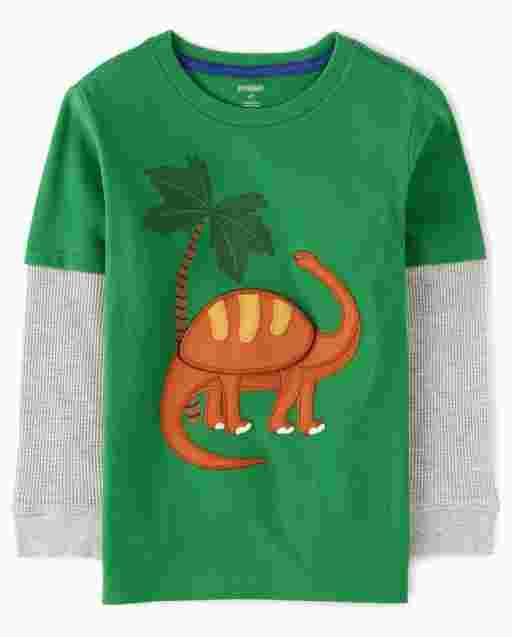 Boys Long Thermal Sleeve Peek-A-Boo Flap Art Embroidered Brontosaurus 2 In 1 Top - Dino Roar