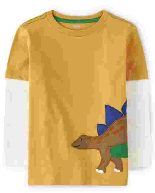 Boys Long Thermal Sleeve Embroidered Stegosaurus 2 In 1 Top - Dino Roar